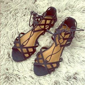 Rouge Blue Denim Strappy Two Piece Sandals